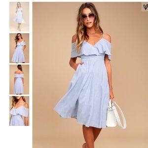 NWT Lulus Yacht Blue Striped Off Shoulder Dress